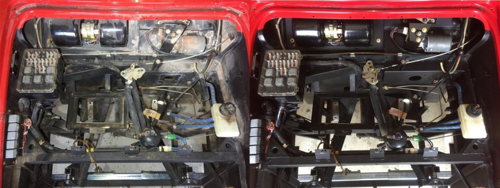 BMW M1 Kofferraum Vorher nachher Trockeneis gereinigt